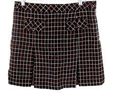 Ann Taylor Loft Skirt Sz 8 Womens Schoolgirl Pleated Brown Wool Check