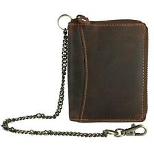 New CTM Men's Hunter Leather Zip-Around Bifold Chain Wallet