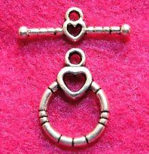 50Sets WHOLESALE Tibetan Silver HEART Toggle Clasps Hooks Connectors Q0970