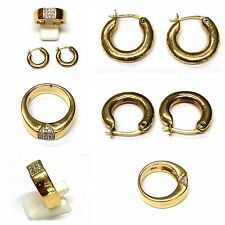 Pierre Lang Hoop Earrings and Ring Size 60 Zirconia Gold Plated Plated
