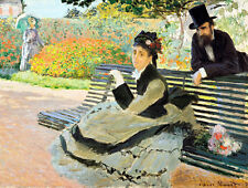 Camille Monet on a Garden Bench by Claude Monet 42cm x 32cm Art Print