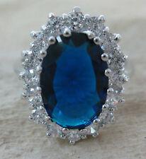 XMAS - 925 STERLING SILVER Sapphire Oval Blue CZ Royal ENGAGEMENT Ring sz M O R…