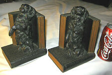 ANTIQUE RONSON PEKINGESE CHINESE DOG ART STATUE SCULPTURE BRONZE METAL BOOKENDS