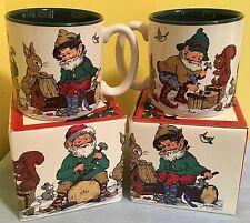 NEW PAIR Woodland Elves Mugs VTG Christmas Coffee Tea Cups 1993 w/ boxes XMAS