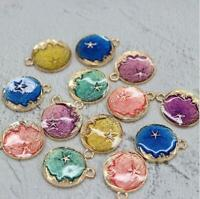 10Pcs/Set DIY Star Moon Enamel Pendant Findings Craft Charms Jewelry Making