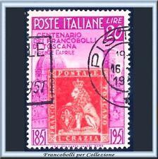 1951 Italia Repubblica Francobollii Toscana L. 20 lilla e rosso n. 653 Usato