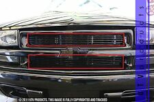 GTG 1998 - 2004 Chevy S10 Blazer 2PC Gloss Black Upper Overlay Billet Grille Kit