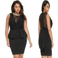 Sz 16 18 Black Sleeveless Lace Evening Formal Party Sexy Slim Fit Peplum Dress
