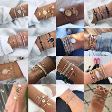 Bohemia Multilayer Arrow Knot Crystal Gem Pendant Chain Bracelet Charm Women Set