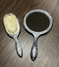 Vintage Silver Vanity Mirror and Brush Set