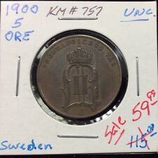 1900 Sweden 5 Ore in Unc. Condition