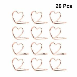 20 PCS Double Heart Table Place Holders Rose Gold Cards Stands Silver Ring Decor