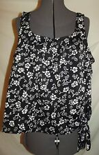 Sunbird vintage black white floral tankini swimsuit top PLUS 50 side tie