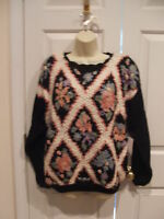 NWT  black floral crochet SWEATER  small  runs large 10-12