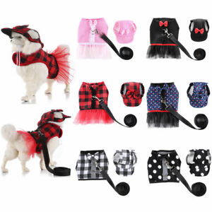 Cute Small Pet Dog Harness Leash Vest-style Plaid Dots Lace Dress Hat Leash Set