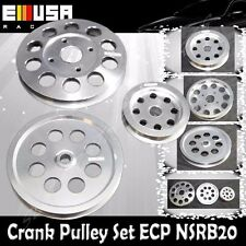 EMUSA Aluminum Silver Crank Pulley Set for Nissan Skyline R32 R33 R34 GT-R