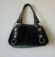 Kathy Van Zeeland Purse Satchel Handbag Black Suede metal accents