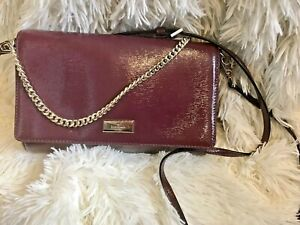 Kate Spade New York Cameron Convertible Crinkled Patent Leather bag In Wine Red