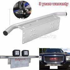 "23"" Silver Bull Bar Front Bumper License Plate Mount Bracket Holder DRL Light"