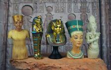Set of 5 Ancient Egyptian Pharaoh King Tut & Queen Nefertiti Bust Figurine 7-8cm