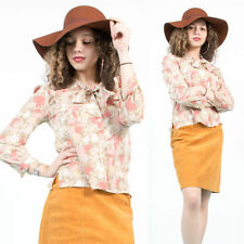 Da Donna Vintage Beige Rosa Floreale Con Motivo Cravatta Collo Oversize Camicia Blusa 10 12