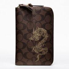 $298 NWT Coach Dragon Signature Travel Zip Wallet 61533 Brass / Mahogany Brown