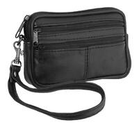 Soft REAL BLACK LEATHER pouch wrist strap belt loop money coin holder 31114