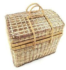 Dark / Natural Vintage Wicker Picnic Basket w/ Folding Handles & Silverware Set