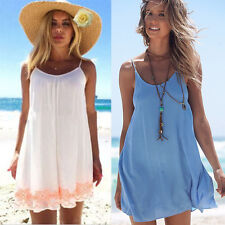 Women's Strappy Summer Holiday Beach Dress Bikini Cover Up Shirt Tops Sundress