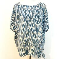 Joie Womens Silk Top Ikat Kila Print Blue Boxy Side Tie Strings Size Small