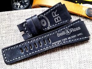 24mm handmade, leather watch strap, army, Bell & Ross logo, gray