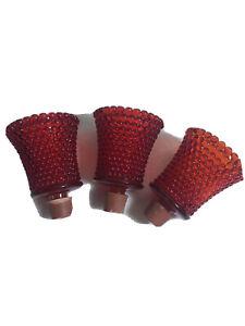"(3) Vintage RUBY RED Fluted Hobnail Peg Sconce Candle Holders 3"""