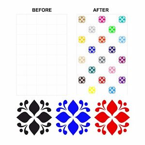 Mosaic Tile Stickers Transfers Coloured For 150mm x 150mm & 6 inch Tiles CG02