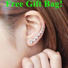 925 Sterling -silver Stud Earrings Zircon 7 stone Uk Seller Ear Climbers Cuff UK