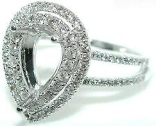 .50 CT PEAR DOUBLE HALO DIAMOND Mounting RING Setting
