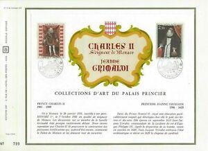 FEUILLET CEF 1er JOUR MONACO COLLECTION D'ART DU PALAIS PRINCIER 1968 Nos 15