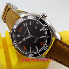 Parnis 45mm black dial deployant clasp 21 jewels MIYOTA Automatic mens Watch 388