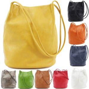 Womens Long Handle Soft Ladies Shopper Shoulder Bag Tote Bucket Hobo Handbags