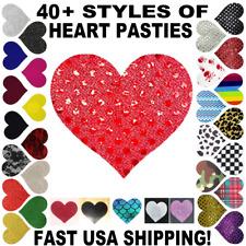 USA~1-5 Pair Heart Pasties Breast Nipple Covers Satin Rave Festival Bra Wear Lot