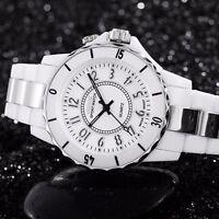 Men's Women LED Waterproof Sport Stainless Steel Band Quartz Watch Black White