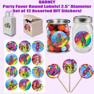 Barney Purple Dinosaur Round Stickers Party Favors Supplies Baby Bop 12PCS