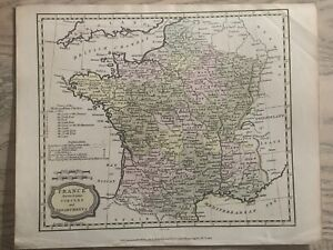 1806 FRANCE HAND COLOURED ORIGINAL ANTIQUE MAP 214 YEARS OLD
