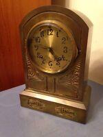 Rare Antique Art Nouveau Aesthetic Brass Coated Iron Ansonia Mantle Clock