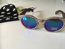 'wood effect' Round Sunglasses Female Fashion brown reflective NEW in pouch