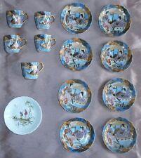 Service à café porcelaine polychrome émaillée & dorée - Japon Geishas +1 Raynaud