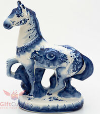 Russian Porcelain Gzhel Hand Painted Figurine of Horse prancing