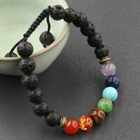 7 Chakra Lava Natural Stone 8MM  Beads Adjustable Handmade Braided Bracelet