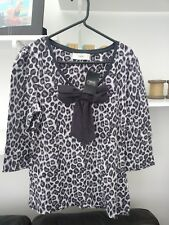 Ladies BNWT Very Trendy Next Grey Leopard Print Top with 3/4 Sleeves Size 12