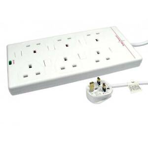 NEWlink 6 Port Individually Switched UK Power Extension - 2 Metres
