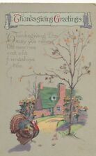THANKSGIVING – Turkey and House Thanksgiving Greetings - 1925